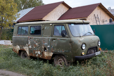 Yoshkar-Ola, Russia - October 5, 2017 Photo of old UAZ minibus on the street in Yoshkar-Ola, Russia Editorial