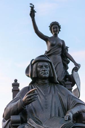 Yoshkar-Ola, Russia - August 13, 2015 Sculptural composition Signor of Florence Lorenzo di Piero de Medici Magnificent in Yoshkar-Ola, Russia Stock Photo