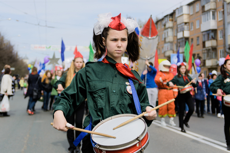 Marching band on the street Editorial