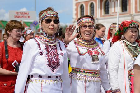 Yoshkar-Ola, Russia - June 25, 2016 Women in national Mari dresses at the Peledysh Payrem holiday in Yoshkar-Ola, Russia Editorial