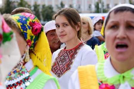 Yoshkar-Ola, Russia - June 25, 2016 Women in national Mari dresses at the Peledysh Payrem holiday in Yoshkar-Ola, Russia Editorial