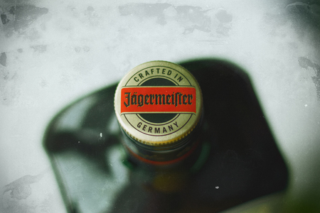 Bottle of Jagermeister from above Editorial