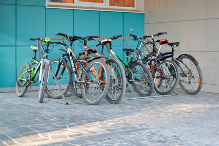 Bicycle parking near the building Editorial