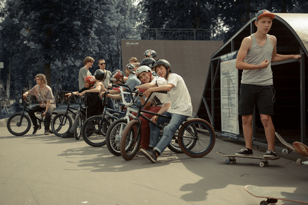 BMX riders in the skate park