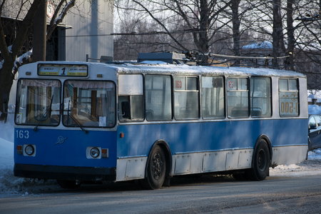 Yoshkar-Ola, Russia - February 7, 2018 Photo ZiU-682 is a Soviet Russian high-floor trolley bus of large capacity for intraurban passenger traffic.