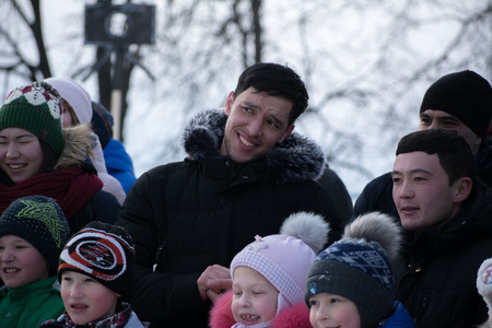 Yoshkar-Ola, Russia - February 19, Russia - Smiling viewers on the Maslenitsa holiday