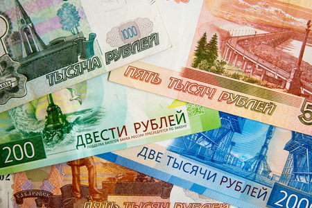 Scattered ruble currency banknotes, closeup view Imagens