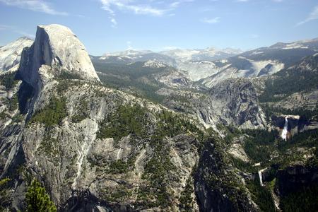 vernal: Half Dome, Nevada Falls, and Vernal Falls from Glacier Point, Yosemite National Park Stock Photo