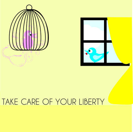 Free bird falling in love with caged bird