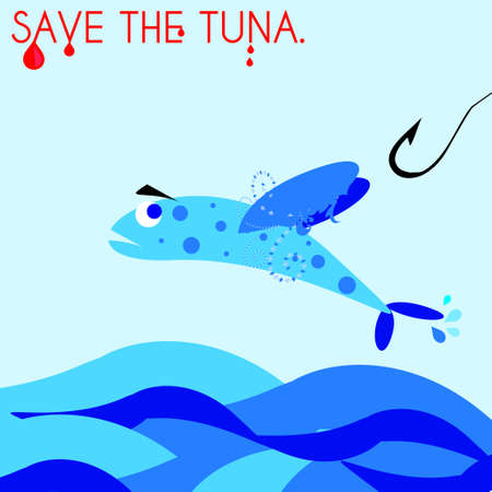escaping: Tuna escaping a hook, flying away Illustration