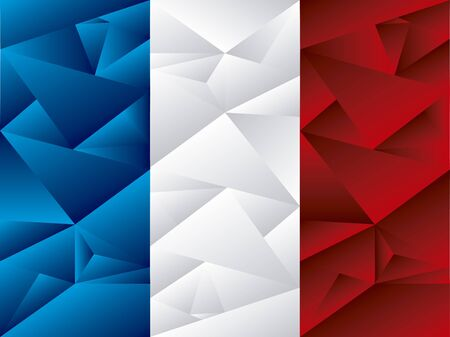 Flag of France, low poly art. Concept art in color.