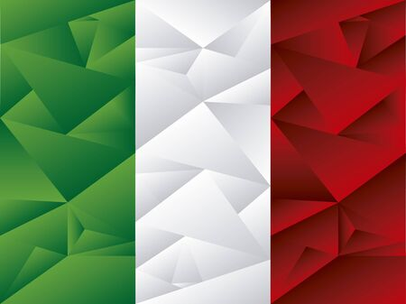 Flag of Italy, low poly art. Concept art in vector.