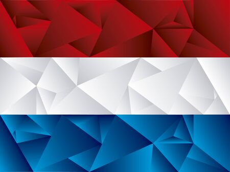 Flag of Netherlands, low poly art. Concept art in color red, blue and white.