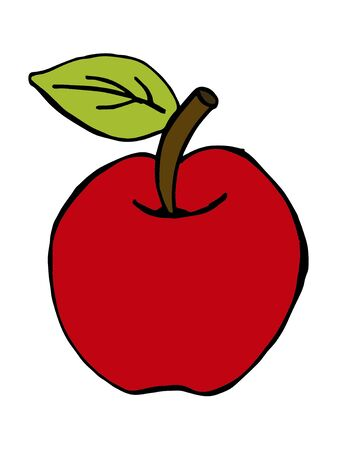 Apple and apple core cartoon vector illustration Ilustracja