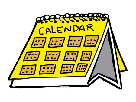 calendar cartoon vector and illustration, hand drawn style, isolated on white background.