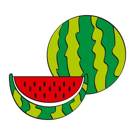 Vector illustration logo for whole ripe red fruit watermelon, green stem, cut half, sliced slice berry with red flesh. Watermelon pattern from natural sweet food. Eat tasty tropical fruits watermelons Иллюстрация