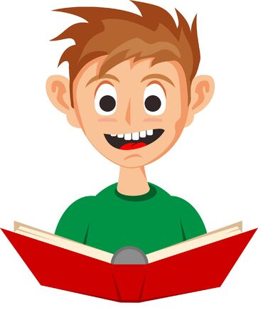 Little Boy Reading A Red Book. A little cute boy reading a red book with happy face. He like to read and study educational books. Иллюстрация