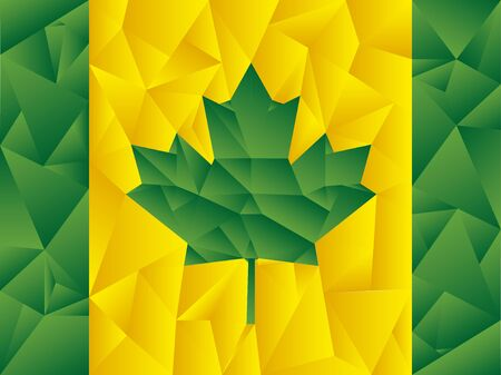 Canadian flag with Brazilian flag colors, symbolizing union between the two nations. Illustration