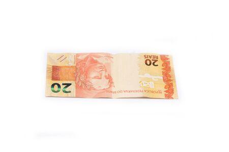 Brazilian money isolated on white background. Bills called Reais. Standard-Bild