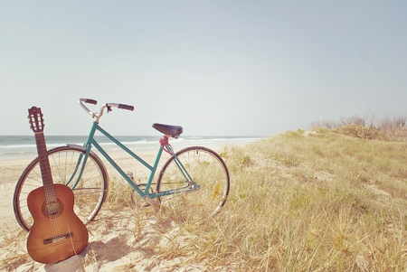 A Guitar and a Bike Stock Photo