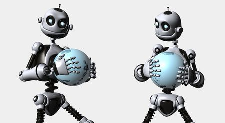 robot with blue ball photo