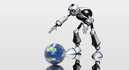 picks: robot picks up globe