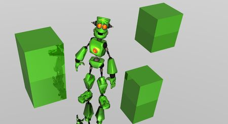 alive: green robot with boxes