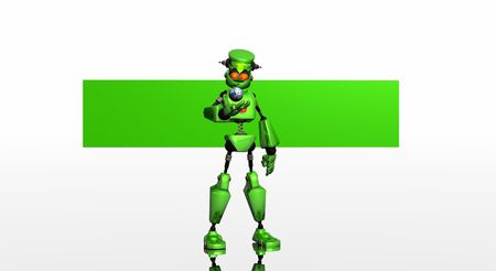 bot: green bot and banner Stock Photo