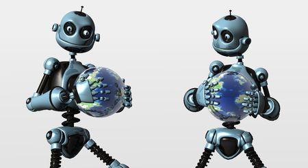 bot: blue bot hold globe