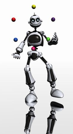 toon robot juggles photo