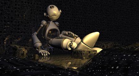 bot: sleeping toon ro bot Stock Photo