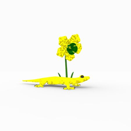gecko and flower Stock Photo