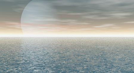 sea scape: sea scape and moon
