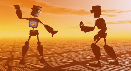 robot cartoon: robots fighting Stock Photo
