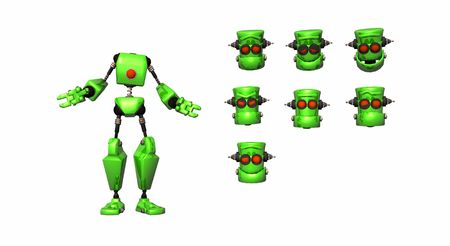 robot with a selection of heads photo