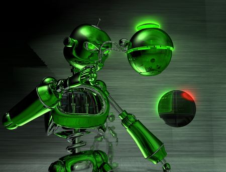 alive: robot with an attitude Stock Photo