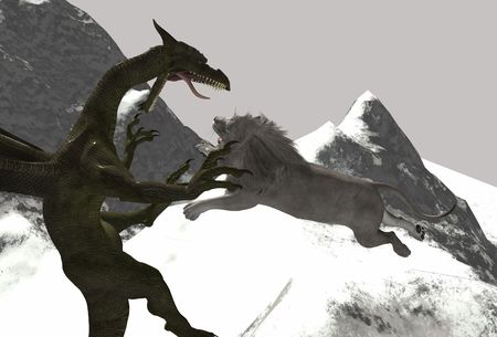 aggresive: dragon vs white lion simple render