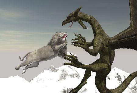 feirce: dragon vs white lion simple render