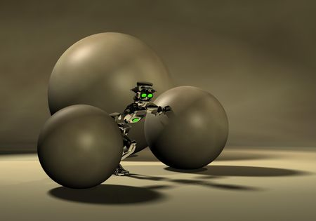 alive: robot pushing spheres