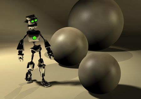 robot and spheres photo
