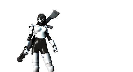 cyber warfare: female future sniper Stock Photo