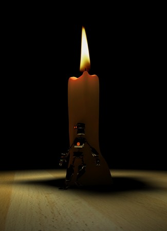 candlestick: robot and candle