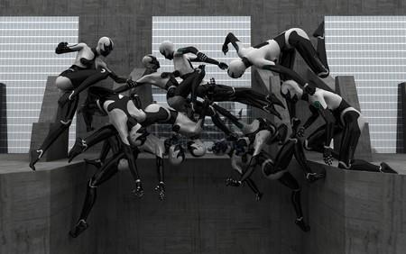 hidef: female cyborg acrobatics Stock Photo