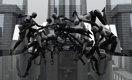 female cyborg acrobatics Imagens