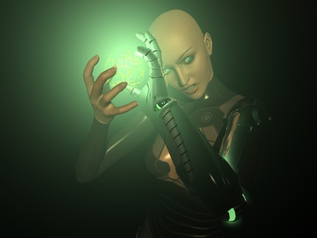 cyber girl: female cyborg Stock Photo
