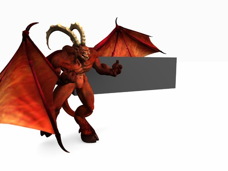 demon and banner Stock Photo - 4536003