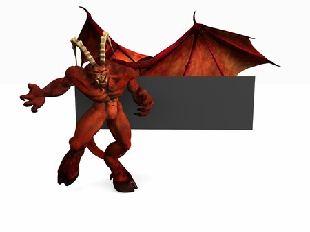 digitally generated: demon and banner