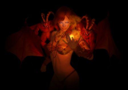 wizard and familiar demons Banco de Imagens