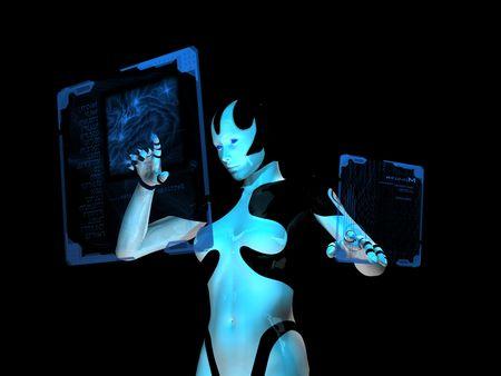 holographic: cyborg utilizza computer olografico