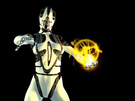 cyborg with energy charge Standard-Bild